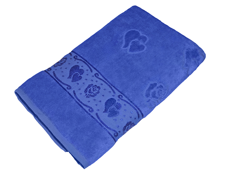 Полотенце синее махра/велюр 70х140 хлопок, AISHA