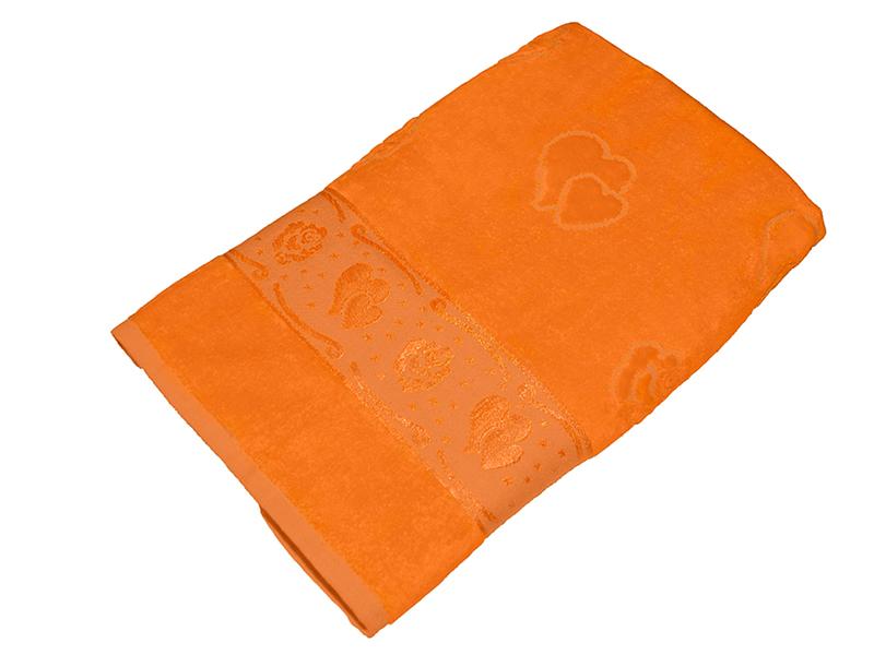Полотенце оранжевое махра/велюр 100х150 хлопок, AISHA