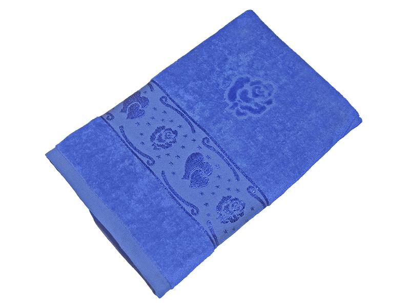 Полотенце синее махра/велюр 50х90 хлопок, AISHA