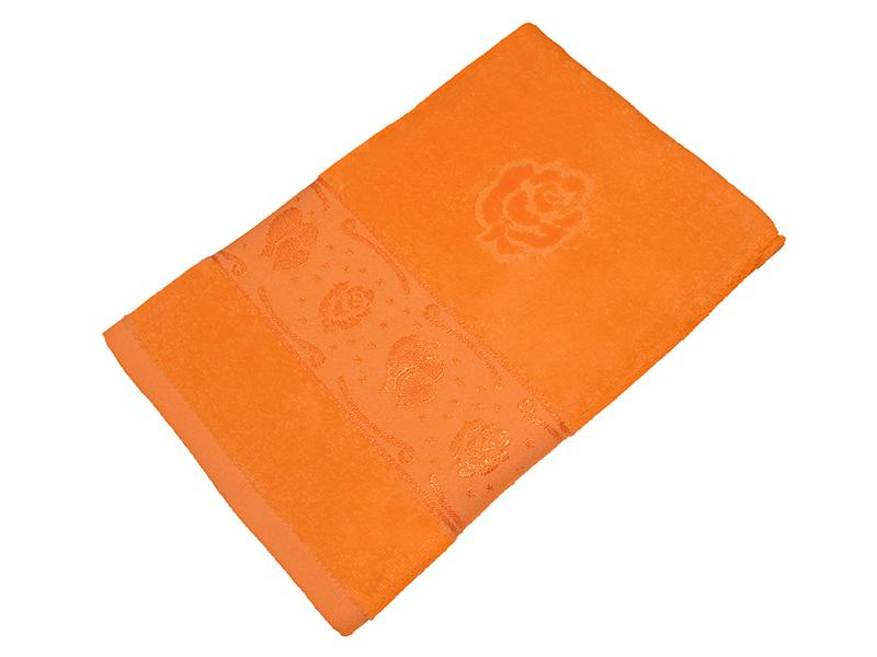 Полотенце оранжевое махра/велюр 50х90 хлопок, AISHA