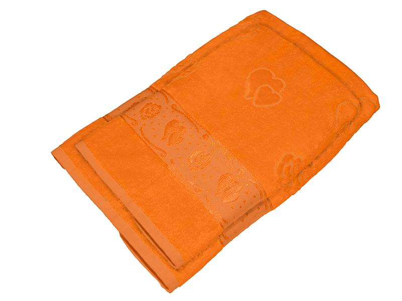 Комплект из 2-х полотенец махра/велюр Оранжевый, AISHA