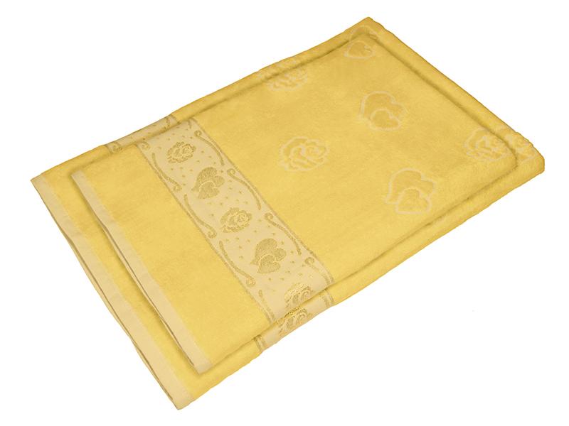 Комплект из 2-х полотенец махра/велюр Желтый, AISHA