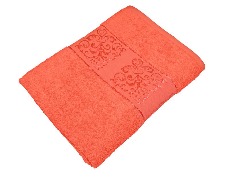 "Махровое полотенце ""Корона"" коралловое 50х85, AISHA"