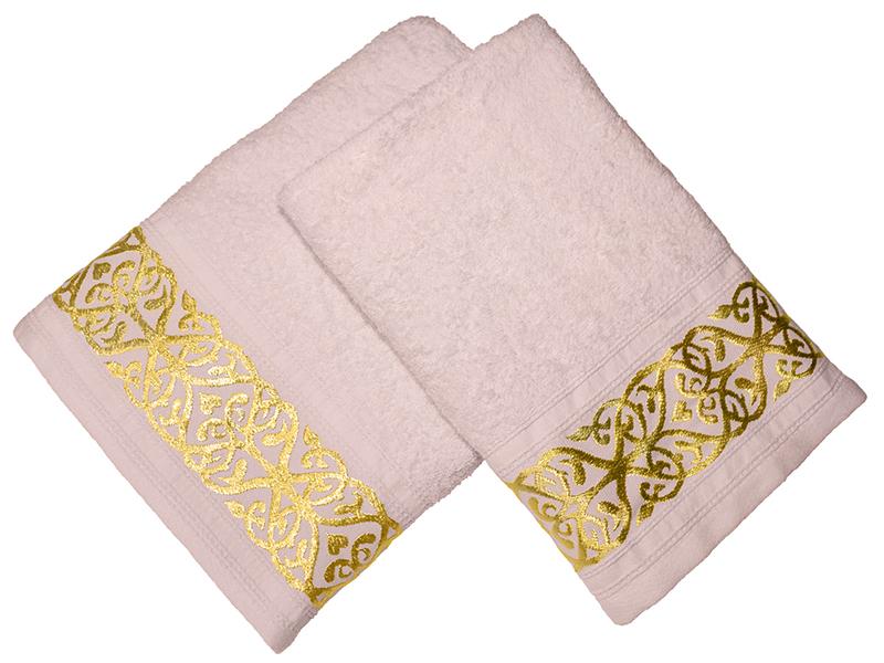 Комплект из 2-х полотенец махровых Розовый жемчуг GOLD