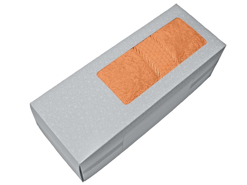 Махровое полотенце персиковое 50х90 хлопок, в коробке, AISHA