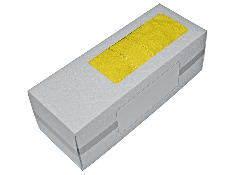Махровое полотенце желтое 50х90 хлопок, в коробке, AISHA