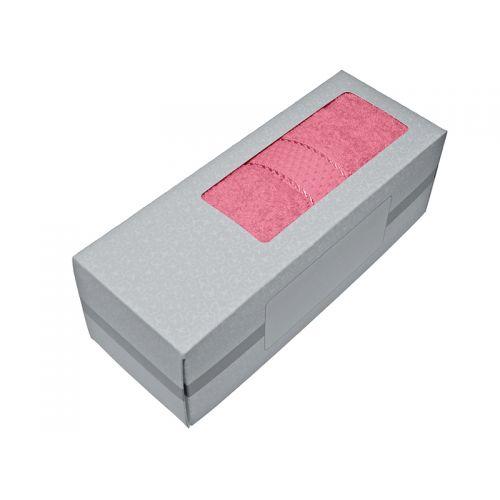 Купить Махровое полотенце розовое 50х90 хлопок, в коробке, AISHA по цене от 326 Р. с доставкой