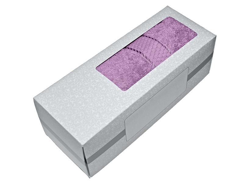 Махровое полотенце сиреневое 50х90 хлопок, в коробке, AISHA