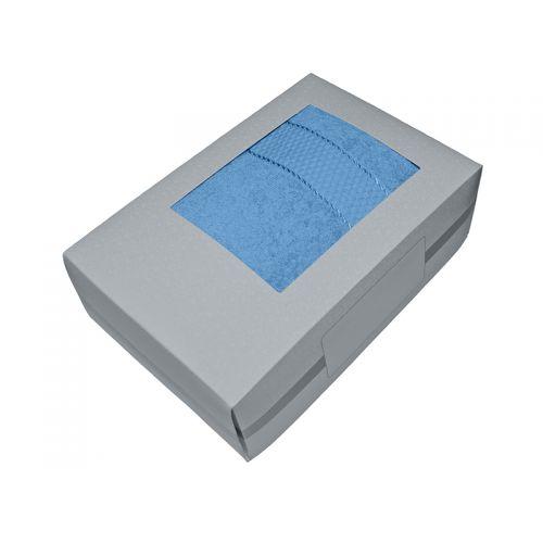 Купить Махровое полотенце голубое 70х140-100% хлопок, в коробке, AISHA по цене от 580 Р. с доставкой