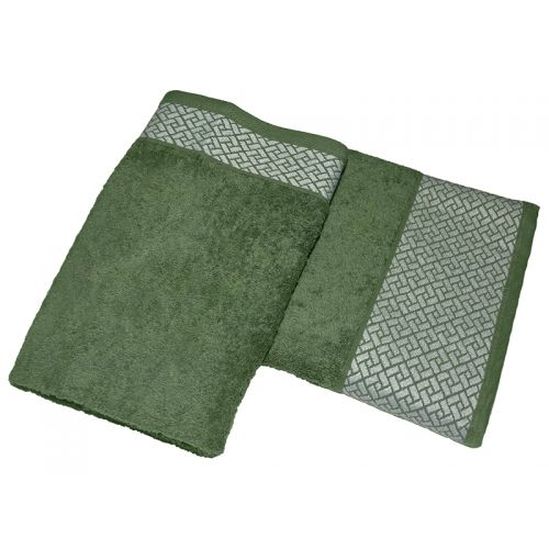 """Купить Комплект из 2-х махровых полотенец """"Лабиринт зеленый"""", AISHA по цене от 840 Р. с доставкой"""