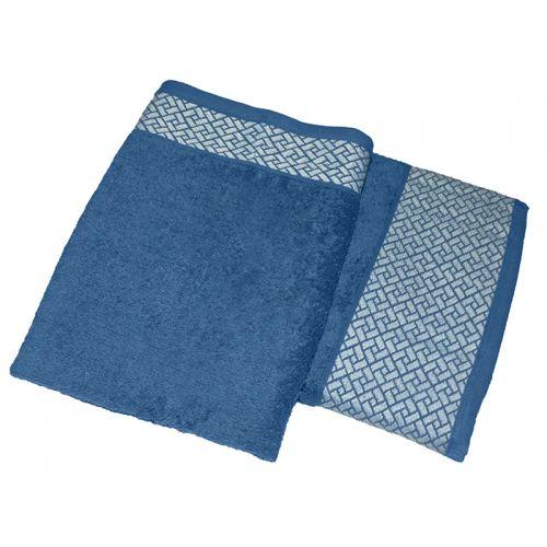 """Купить Комплект из 2-х махровых полотенец """"Лабиринт синий"""", AISHA по цене от 840 Р. с доставкой"""