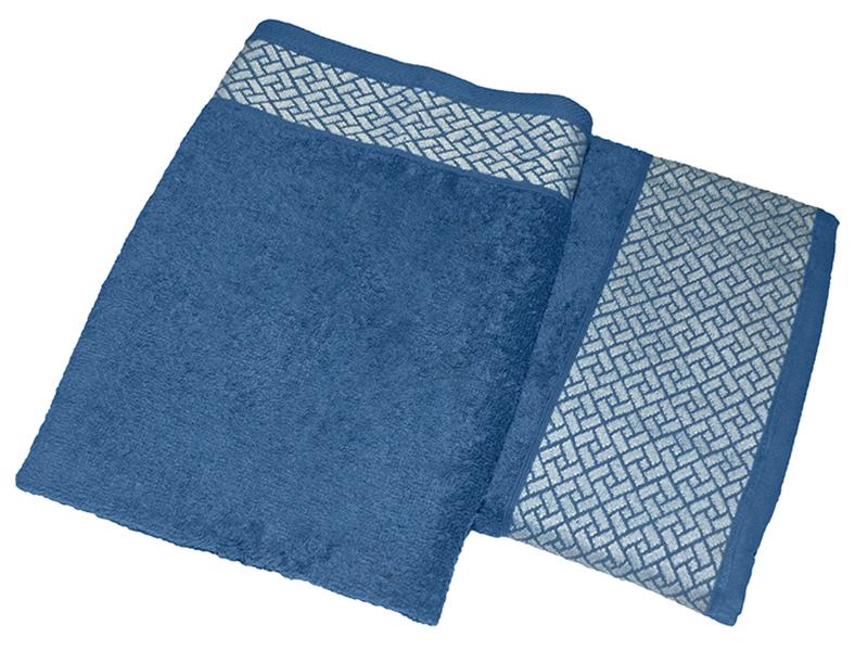 """Комплект из 2-х махровых полотенец """"Лабиринт синий"""", AISHA"""