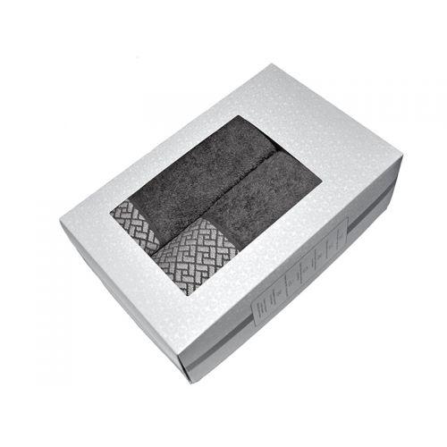 """Купить Комплект из 2-х махровых полотенец """"Лабиринт серый"""" в коробке, AISHA по цене от 904 Р. с доставкой"""