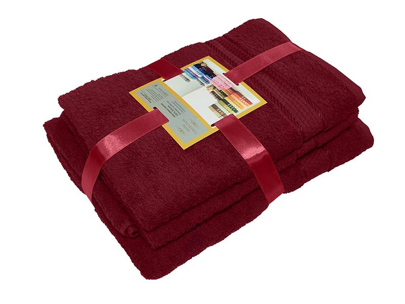 Комплект из 3-х махровых полотенец Бордовый, AISHA