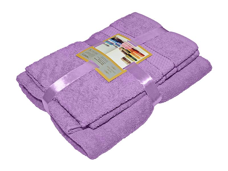 Комплект из 3-х махровых полотенец Сиреневый, AISHA