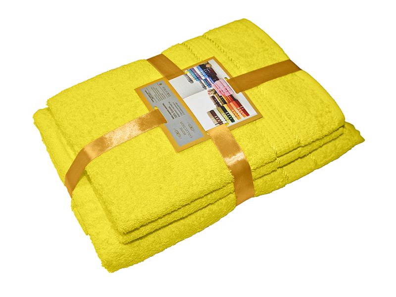 Комплект из 3-х махровых полотенец Желтый, AISHA