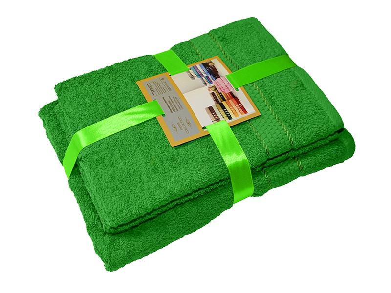 Комплект из 3-х махровых полотенец Зеленый, AISHA