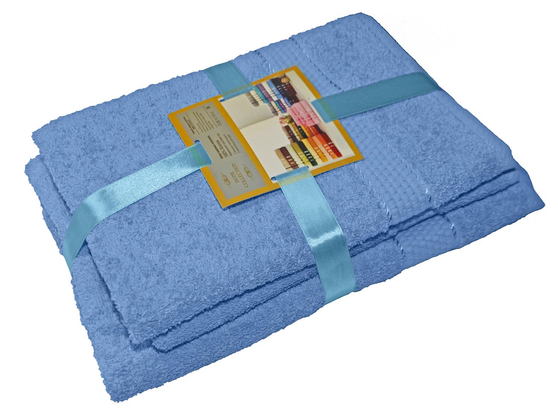 Комплект из 3-х махровых полотенец Голубой, AISHA