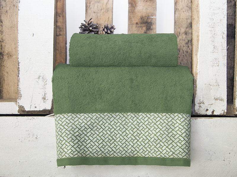 """Комплект из 2-х махровых полотенец """"Лабиринт зеленый"""", AISHA"""