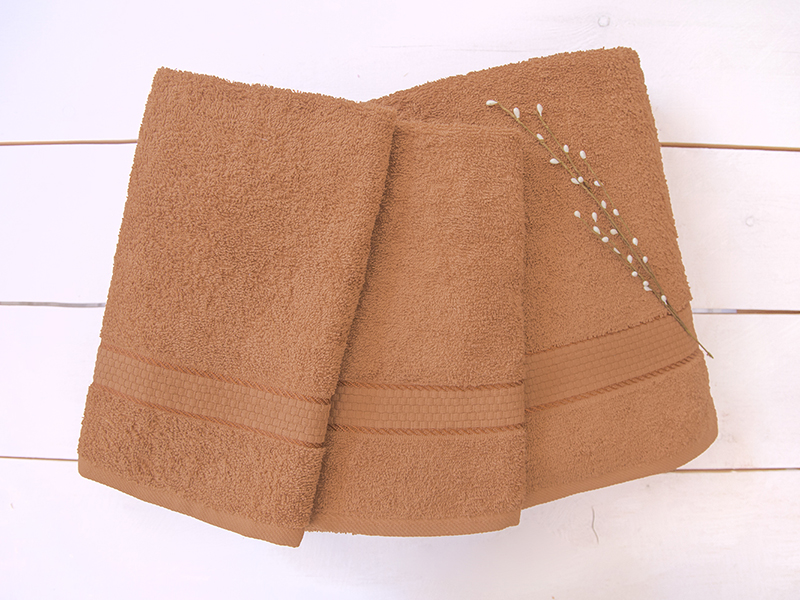 Комплект из 3-х махровых полотенец Коричневый, AISHA