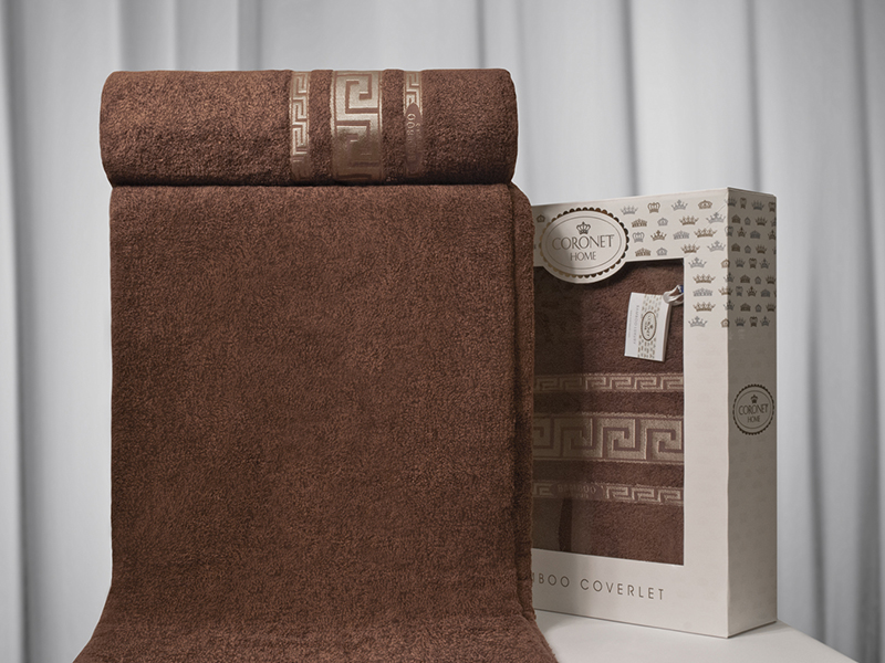 """Махровая простыня """"Грек коричневый"""" 200х220 бамбук, CORONET"""