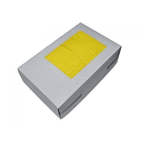 Купить Махровое полотенце желтое 70х140-100% хлопок, в коробке УзТ-ПМ-114-08-21к по цене от 580 Р. с доставкой