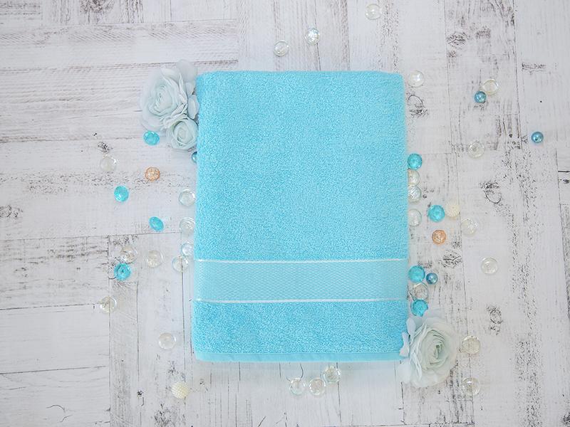 Махровое полотенце подарочное 70х130 голубое УНДИНА
