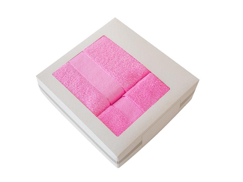 Комплект из 2-х полотенец махровых в коробке розовый УНДИНА