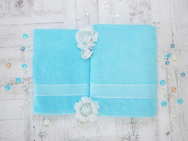 Комплект из 2-х полотенец махровых в коробке голубой УНДИНА