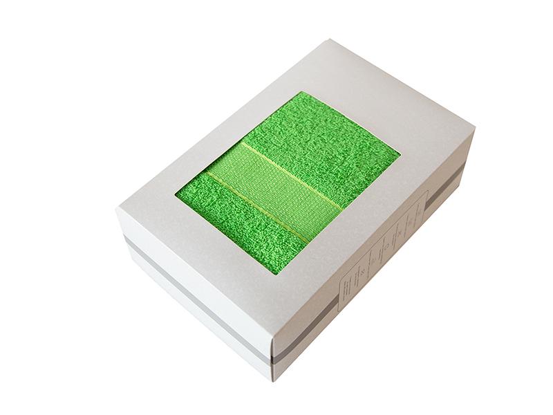 Махровое полотенце подарочное 70х130 зеленое в коробке УНДИНА