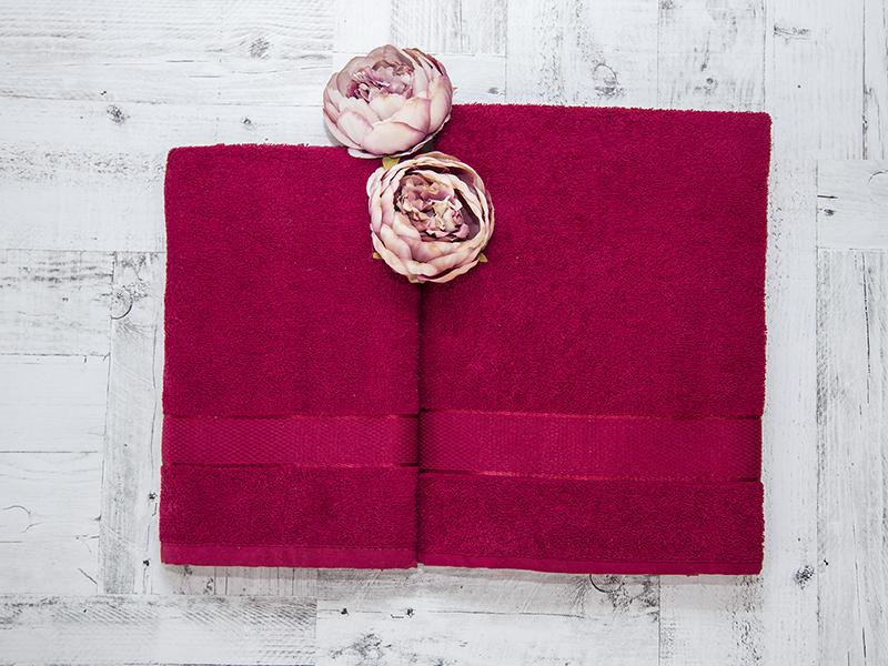 Комплект из 2-х полотенец махровых бордовый УНДИНА