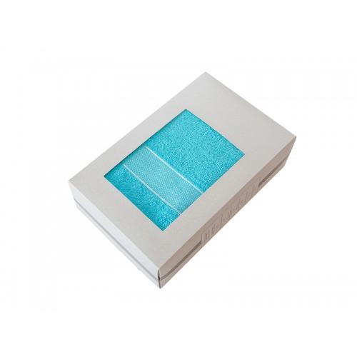 Купить Махровое полотенце подарочное 70х130 голубое в коробке УНДИНА по цене от 629 Р. с доставкой