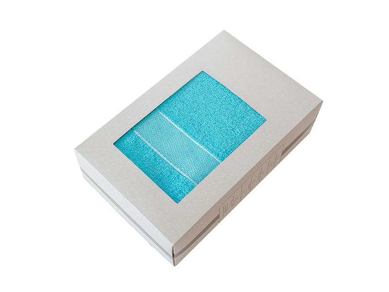 Махровое полотенце подарочное 70х130 голубое в коробке УНДИНА