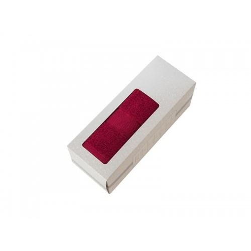 Купить Махровое полотенце подарочное 50х90 бордовое в коробке УНДИНА по цене от 348 Р. с доставкой