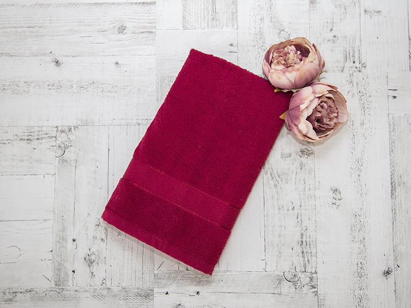 Махровое полотенце подарочное 50х90 бордовое в коробке УНДИНА