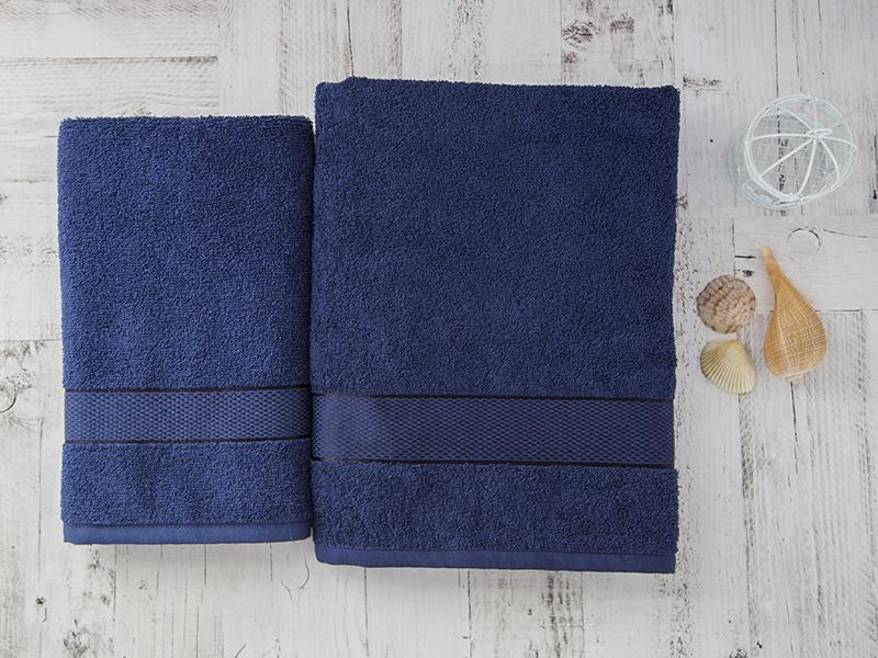 Комплект из 2-х полотенец махровых в коробке темно-синий УНДИНА