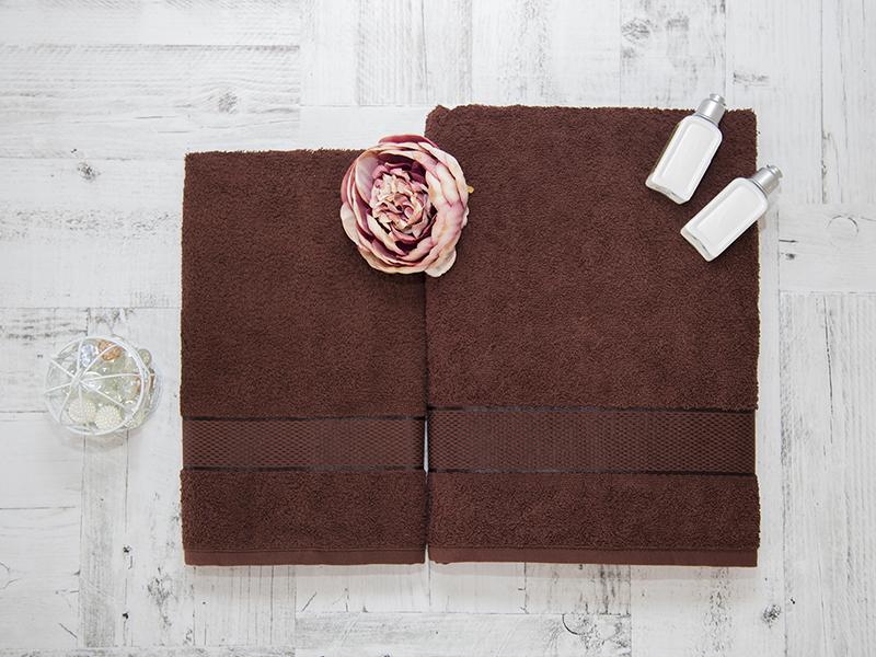 Комплект из 2-х полотенец махровых в коробке шоколад УНДИНА