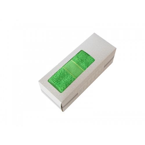 Купить Махровое полотенце подарочное 50х90 зеленое в коробке УНДИНА по цене от 348 Р. с доставкой