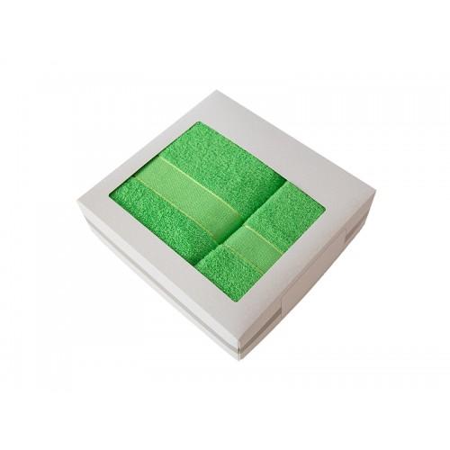 Купить Комплект из 2-х полотенец махровых в коробке зеленый УНДИНА по цене от 1 588 Р. с доставкой