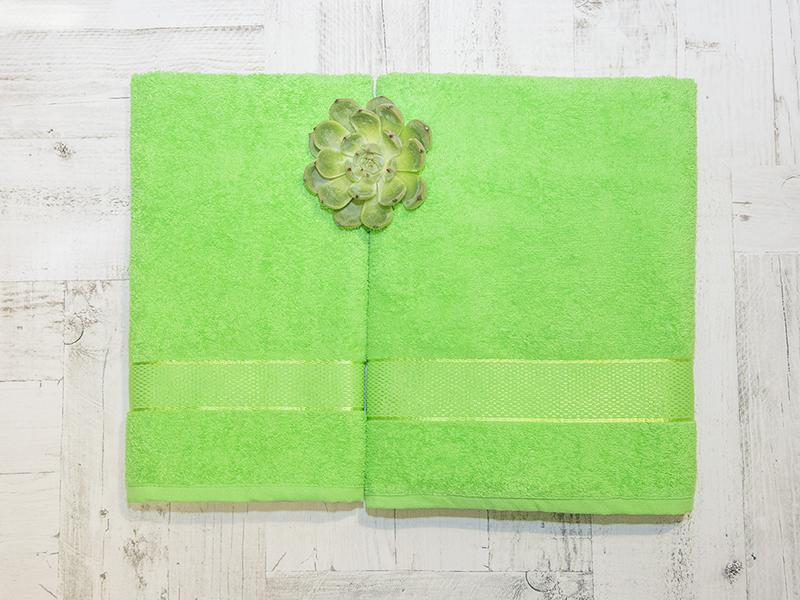 Комплект из 2-х полотенец махровых в коробке зеленый УНДИНА