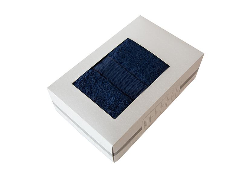 Махровое полотенце подарочное 70х130 темно-синее в коробке УНДИНА