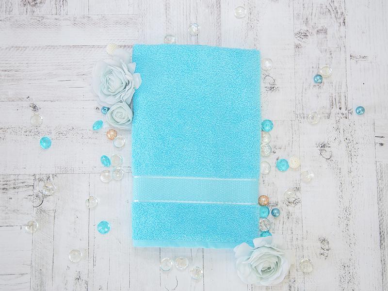 Махровое полотенце подарочное 50х90 голубое в коробке УНДИНА