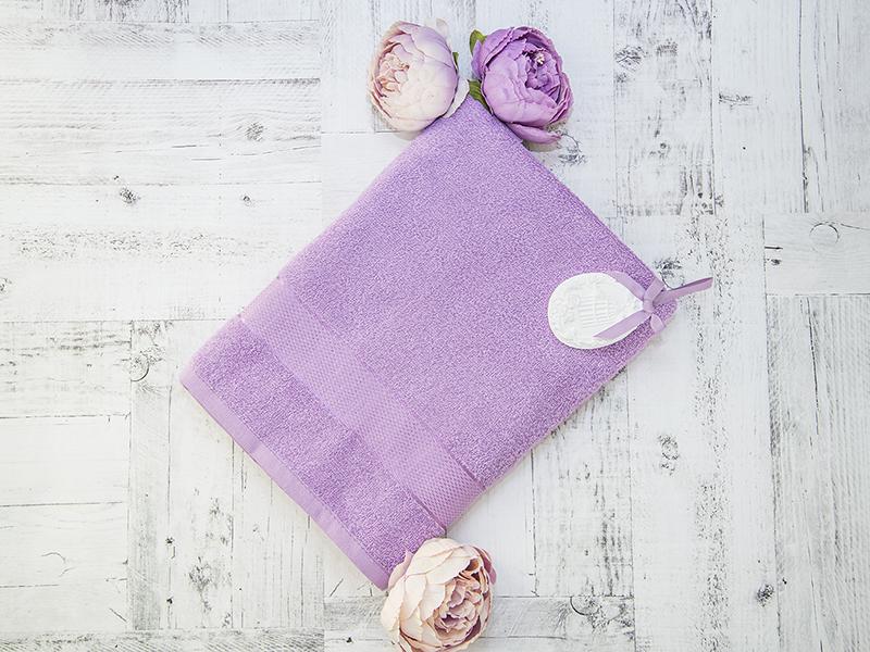 Махровое полотенце подарочное 70х130 сиреневое в коробке УНДИНА