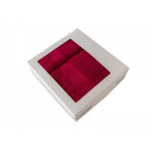 Купить Комплект из 2-х полотенец махровых в коробке бордовый УНДИНА по цене от 910 Р. с доставкой