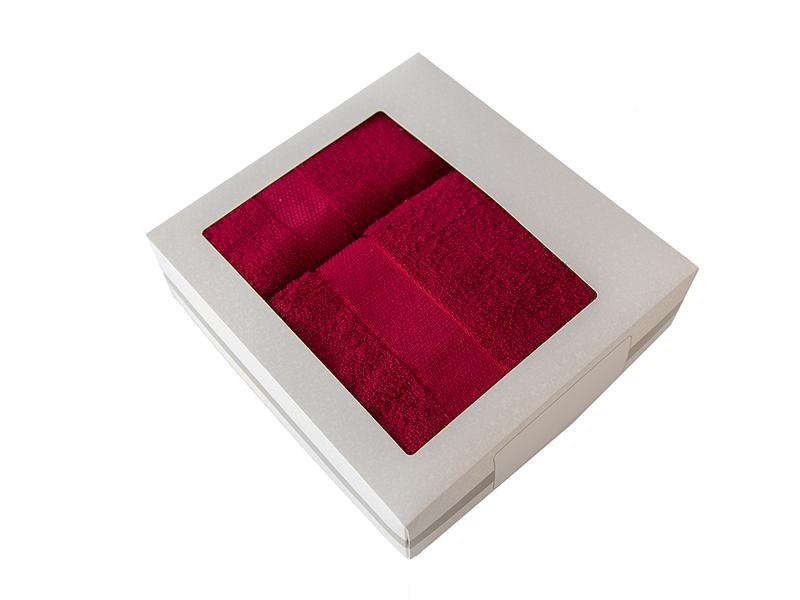 Комплект из 2-х полотенец махровых в коробке бордовый УНДИНА