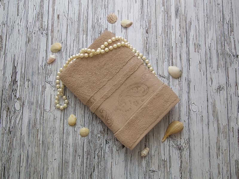 Махровое полотенце подарочное 70х140 капучино ЛОРАН