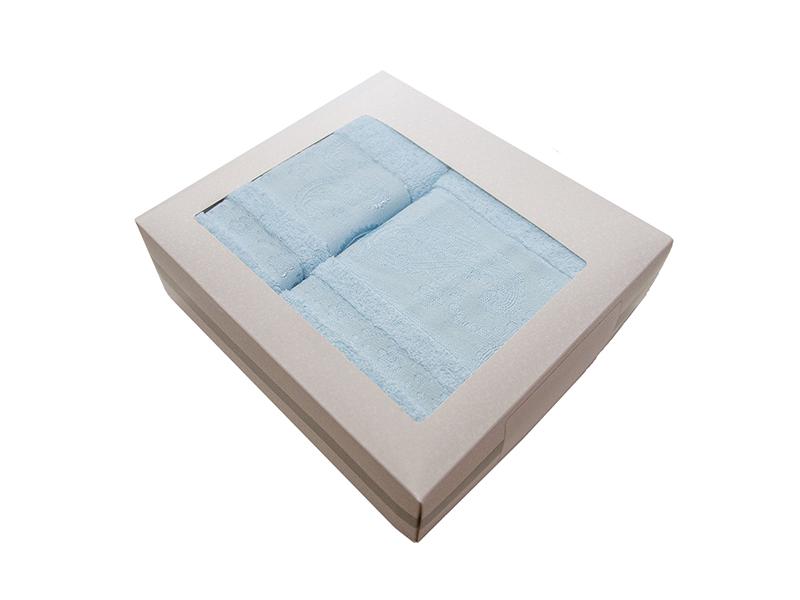 Комплект из 2-х полотенец махровых голубой ЛОРАН