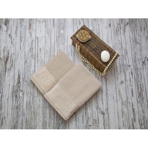 Купить Комплект из 2-х полотенец махровых бежевый ФРАНСУА по цене от 1 559 Р. с доставкой