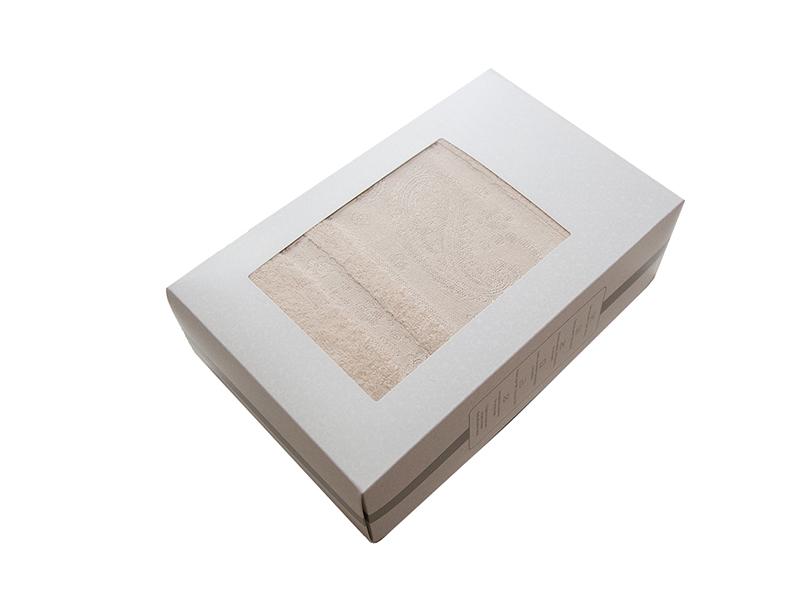 Махровое полотенце подарочное 70х140 бежевое ЛОРАН