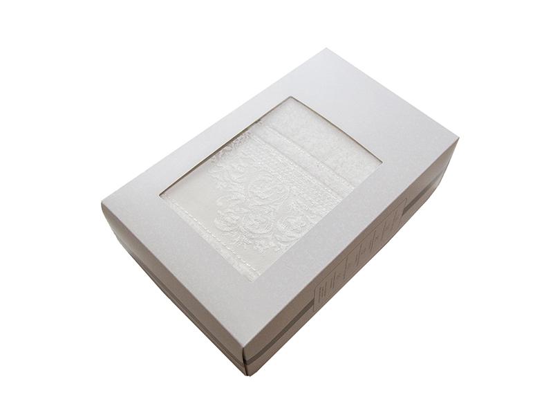 Махровое полотенце подарочное 70х140 молочное ФРАНСУА